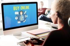 Спросите, что мы покупаем онлайн советуйте с свяжитесь мы концепция работы с клиентом Стоковая Фотография RF