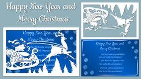 Спрус, древесина, сани, северный олень вектор Вырезывание прокладчика клише Изображение с надписью - веселым рождеством для иллюстрация штока
