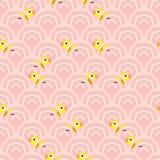 Спрятанная птицей картина волны безшовная Стоковые Изображения