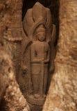 Спрятанная статуя в виске Angkor Стоковое фото RF