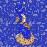 Спрятанный кот в винтажных декоративных элементах Стоковое Фото