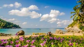 Спрятанный пляж рая в Пхукете Стоковая Фотография