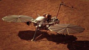 спускаемый аппарат проницательности NASA 4K на поверхности Марса Элементы обеспечили ny NASA бесплатная иллюстрация