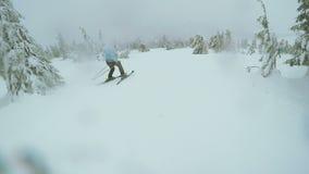Спуск лыжи женщины в природу видеоматериал