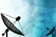 Спутниковая антенна-тарелка на глобальной предпосылке для сообщения и techno иллюстрация вектора