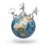Спутниковые антенна-тарелки на земле. 3d Иллюстрация вектора