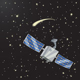 Спутник в космосе среди звезд Иллюстрация вектора