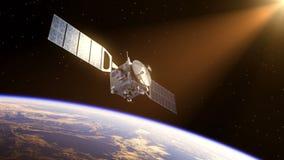 Спутник в лучах Солнца иллюстрация вектора