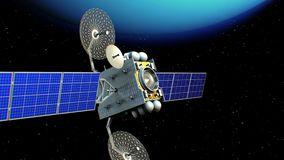 Спутник в орбите Урана иллюстрация вектора