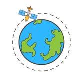 Спутник двигая вокруг векторную графику земли бесплатная иллюстрация