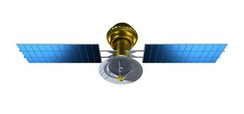 Спутник изолированный на белой предпосылке Реалистический спутник 3d представляют иллюстрацию satelit иллюстрация штока