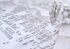 Спутник контролирует город - перевод 3D Иллюстрация вектора