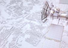 Спутник контролирует город - перевод 3D Бесплатная Иллюстрация
