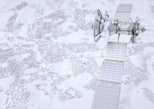 Спутник контролирует город - перевод 3D Иллюстрация штока