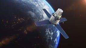 Спутник научной фантастики на орбите земли иллюстрация штока
