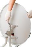 спутник установки тарелки Стоковые Фото