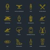 Сплавляющ, сплавляться плоская линия значки Vector иллюстрация оборудования водных видов спорта - сплотка реки, каяка, каное, зат Стоковые Фотографии RF