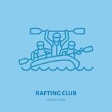 Сплавляющ, сплавляться плоская линия значок Vector иллюстрация водных видов спорта - счастливых стропилин с затворами в сплотке р Стоковая Фотография RF