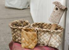 Сплетенные корзины handmade Стоковые Фотографии RF