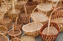 Сплетенные корзины handmade Стоковое Фото