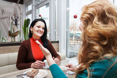 Сплетня женщин в кафе Стоковое Фото