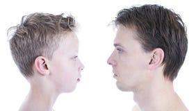 Сравнение сына отца стоковое изображение