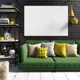 Сравнивая современный внутренний стиль просторной квартиры, состоя из wi полки Стоковое Изображение