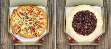 Сравните риса пурпура ягоды пиццы и риса стоковое изображение