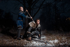 Сражение между средневековыми рыцарями в стиле игры Thro Стоковые Изображения RF