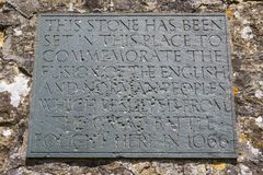 Сражение металлической пластинкы Hastings на аббатстве сражения Стоковое фото RF