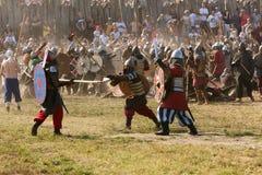 Сражение славянин и Викингов Стоковые Фото
