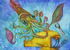 Сражение с гигантским кальмаром Стоковые Фотографии RF