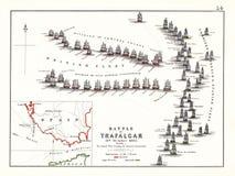 Сражение Trafalgar в начале дня, октябрь 21, 1805 Стоковое Фото