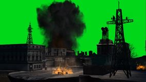 Сразите город/взрыв этапа на зеленом экране иллюстрация штока
