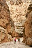 среди больших стен природы hikers Стоковое Изображение RF