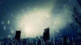 Средневековая армия маршируя в замерзая погоду
