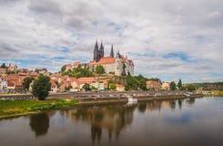 Средневековая панорама городка Баутцена, восточной Германии Стоковая Фотография RF