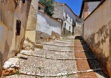Средневековая улица в Испании Стоковые Изображения
