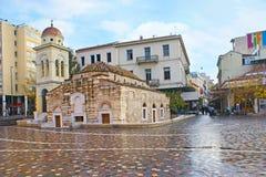 Средневековая церковь в Афинах стоковая фотография