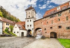 Средневековое lech Landsberg am городка, Германия Стоковые Изображения RF