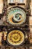 Средневековые астрономические часы в Прага Стоковое Изображение RF