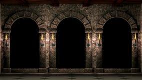 Средневековые своды с факелами сток-видео