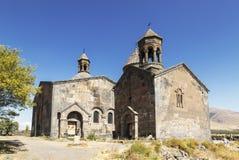 Средневековый армянский монастырь Saghmosavank, расположенное около ущелья реки Kassakh Район Ashtarak стоковое изображение