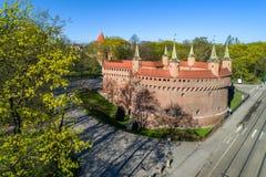 Средневековый барбакан в Кракове, Польша Стоковые Изображения RF