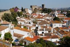 средневековый взгляд городка Португалии obidos Стоковые Изображения RF