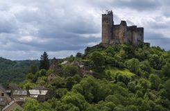 Средневековый замок в Najac Стоковое фото RF