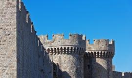 Средневековый замок, Родос Греция Стоковые Фотографии RF