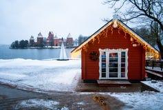 Средневековый замок Trakai, Вильнюса, Литвы, Восточной Европы, в зиме стоковое изображение rf