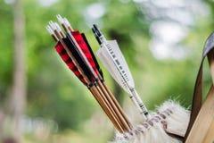 Средневековый комплект старых красочных деревянных стрелок вися на стойке в сумке стоковые фото