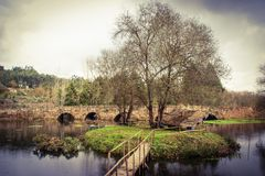 Средневековый мост Marnel в Agueda Стоковые Изображения